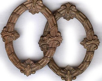 """vintage FRAME shape brass findings old brass findings FRANCE ornate oval shapes TWO antique findings 1-1/2"""" x 1-1/4"""" each"""