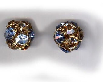 vintage rhinestone bead ONE 18mm two tone blue and beige RHINESTONE BALL rare and unusual color scheme antique rhinestone bead