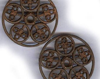 """vintage ROUND shape brass findings old brass findings FRANCE ornate shapes TWO antique findings 1-1/2"""" x 1-1/4"""" each connectors"""