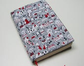 Book cover,  TRADE SIZE paperback book cover,  book protector, cotton, padded cover, ribbon bookmark, grey dogs