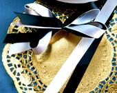 White Double Sided Satin, Black satin, 5/8 inches, wedding ribbon, birthday ribbon, present ribbon,crafting ribbon, white ribbon