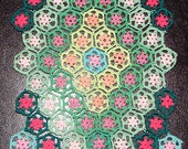 Miniature Crochet Dollhouse Afghan Pink Flowers Green Hexagons