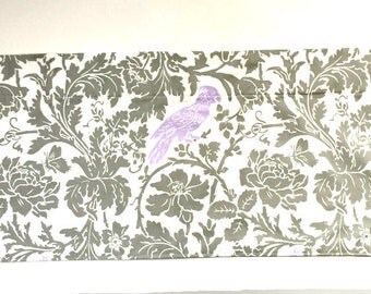 "SALE Window Valance/Window Topper/Kitchen/Bedroom/Bath/Bedroom/Straight/LINED-Valance/Barber Gray Purple Bird Fabric 32"" x 15"" Ready to SHIP"