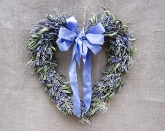 Romantic Lavender, Willow Eucalyptus, Caspia and Blue Thistle Heart Shaped Wreath for Boho Rustic Wedding Home Decor