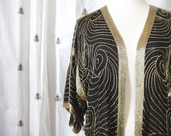 Vintage Sequin Beaded Blazer, Jacket, Black and Gold, Oversized, Open Lapel, by Exotic, Silk, Size Large, Made in India