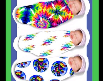 Grateful Dead Band, Swaddle Blanket, baby Swaddle, dancing bear receiving blanket, organic cotton, hippie, new born, toddler blanket.