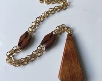 1980's Chunky Wooden Necklace
