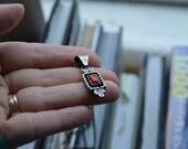 Vintage sterling silver shadowbox Navajo coral necklace