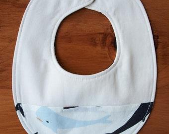 Whale Pod Baby Bib; Blue, Black, White Whales Drool Bib; Organic Cotton New Baby Gift; Handmade Drool Bib, Seaside Baby Bib (Last One)