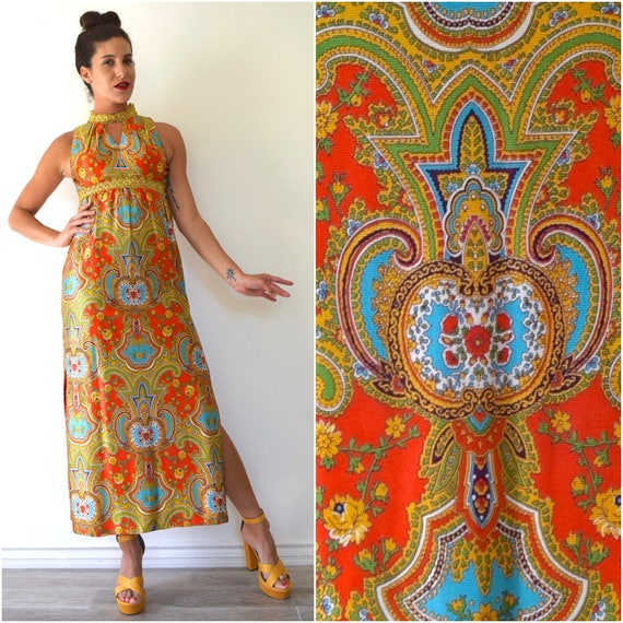 Vintage 60s 70s Turkish Delight Psychedelic Floral and Paisley Print Rhinestone Studded Empire Waist Maxi Dress (size xs)