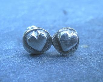 Small rustic heart sterling silver stud earrings - gift under 30 dollars - oxidized silver post earrings organic boho light