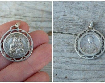 Vintage Antique 1900 sterling silver French medal  Jesus /Holy Virgin/ Christianity /Religion