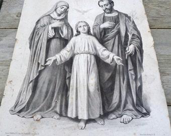 Antique 1890/1900 religious print /French print /Santa Familia/ chromolithograph