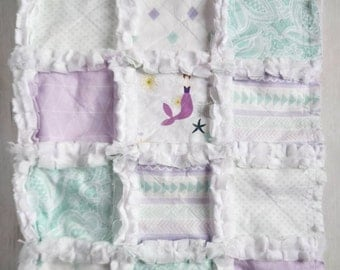 Lavender and Mint Mermaid Quilt - Mermaid Crib Bedding – Baby Girl Quilt – Lavender and Mint Bedding – Mermaid Gift – Mermaid Blanket