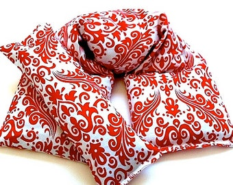 Herbal Gift Set, Microwavable Wrap and Eye Pillow, Rice Flaxseed, Lavender, Unscented Red White Damask