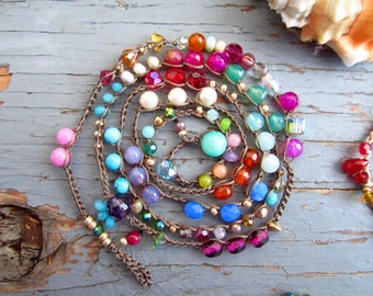 NEW Gypsy soul wrap or necklace, 4X wrap, natural crocheted jewelry
