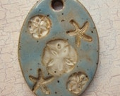 Custom Large Handmade Clay Pottery Pendant Charm or Ornament - Choose Shape and Color - SEA FLOOR