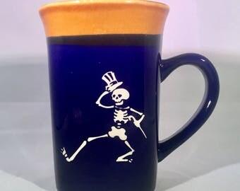 Grateful Dead Etched Coffee or Tea Mug featuring Uncle Sam Dancing Skeleton