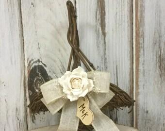 Rustic Flower Girl's Basket with Paper Roses, Shabby Chic Wedding Basket, Wedding Decor