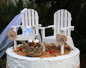 Beach Wedding Cake Topper, Adirondack Chair Cake Topper, Destination Wedding, Bride and Groom Cake Topper, Wedding Bouquet, Nautical,
