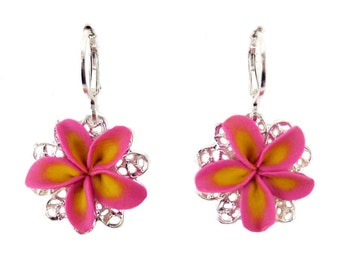 Plumeria FIligree Earrings - Plumeria Vintage Style Earrings, Plumeria Jewelry