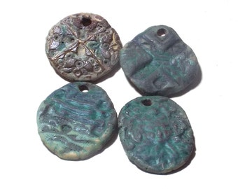 Ceramic Pendants 4 Large Rustic Ancient Stoneware Fantasy Mix Magical Tribal Ethnic Celtic Mystical Metaphysical Textured Vertigris Patina