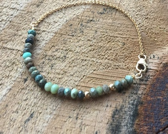 Beaded Turquoise Bracelet Dainty Stacking Bracelet African Turquoise Jewelry December Birthstone Delicate Gold Beaded Bracelet