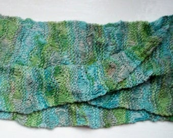 Infinity mobius scarf, silk noil, hand knitted, blue, green, luxury neck wear