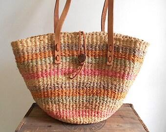 80s Sisal Jute tote market bag - handwoven stripe - spring summer