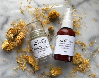Duo SALE Organic SPF Lotion Stick And SPF Face Lotion Set Sun's Out Handmade Best Sun Protection