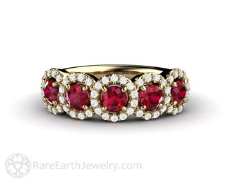Ruby Wedding Band Diamond Halo Ruby Engagement Ring July Birthstone 14K 18K or Platinum