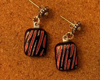 Dichroic Post Earrings - Fused Glass Earrings - Dichroic Jewelry - Fused Glass Jewelry - Post Earrings - Red and Black Earrings