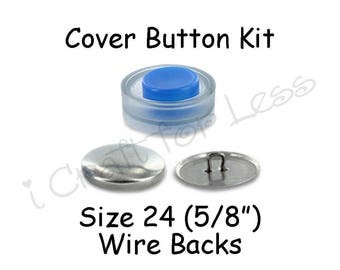 Size 24 (5/8 inch) Cover Buttons Starter Kit (makes 10) with Tool - Wire Backs - Free Instructions - SEE COUPON