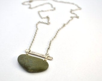 river rock necklace with hammered silver bar
