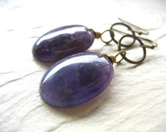 Amethyst Earrings, Amethyst Antiqued Brass Hoop Dangle Drop Earrings, Handmade Amethyst Earrings, Gemstone Jewelry, Birthstone Jewelry