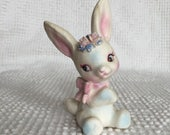 Vintage Lefton Bunny Figurine - White with sweet pink and blue accents - Perfect for Easter and Spring