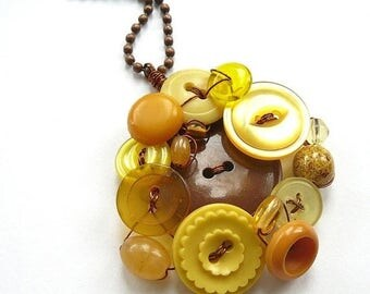 Spring Sale Big Sunflower Yellow and Brown Vintage Button and Bead Pendant