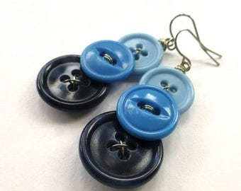 Spring Sale Ombre Blue Three Button Dangle Earrings