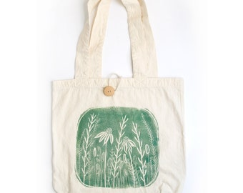 Handprinted Organic Cotton Tote Bag - Green - Botanical - Floral - Prairie - Holiday