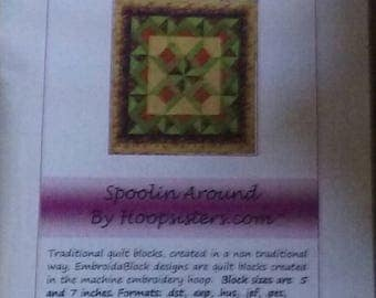 """Embroidablock """"Spoolin Around"""" by Hoopsisters"""