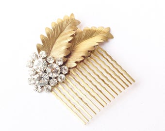 Crystal leaf bridal hair comb golden brass rhinestone wedding hair accessory vintage style grecian goddess
