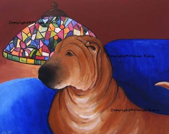 Chinese Shar-Pei Print Fawn Horsecoat Shar Pei Tiffany Lamp Coming Home SharPei Lover Shar PeI Gift Dog ACEO ATC Artwork by Denies Every