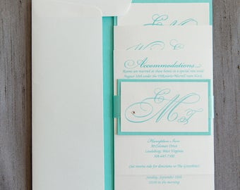 Wedding Invitation - SAMPLE - Crystal's Stacked Monogram Save the Date