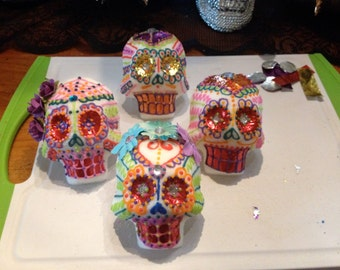 4 large Day of the Dead Sugar Skulls