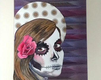 day of the dead girl framed watercolor