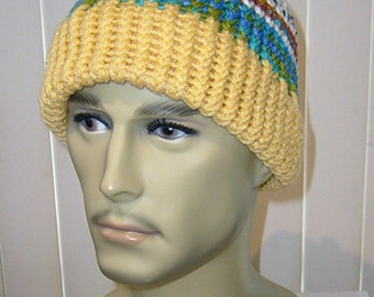 Knit Hat, Unisex Toboggan, Adult Beanie, One Size Fits Most, Mountain Run