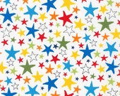 Star fabric, Kids fabric, Baby fabric, Cute Novelty fabric, Astronomy, Cotton fabric by the yard, Monster Stars in Primary, Choose your cut
