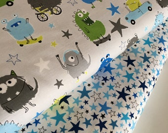 Moster fabric, Novelty fabric, Childrens fabric, Blue Green Decor, Star fabric, Boy Quilting fabric, - Fabric Bundle of 3, Choose The Cuts