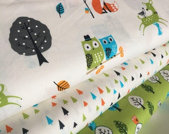 Forest Fellows fabric, Fox fabric, Rustic Fabric, Boy Room Decor, Owl Decor, Wild Colorway, Robert Kaufman- Bundle of 3, Choose The Cut