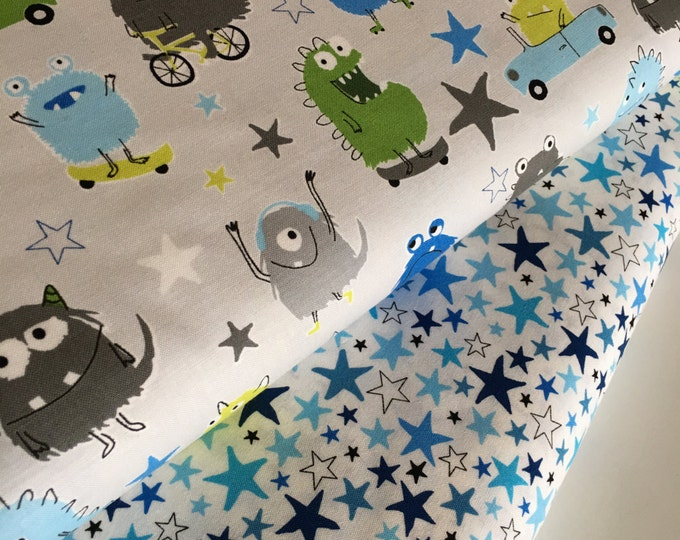 Moster fabric, Novelty fabric, Childrens fabric, Blue Green Decor, Star fabric, Boy Quilting fabric, - Fabric Bundle of 2, Choose The Cuts